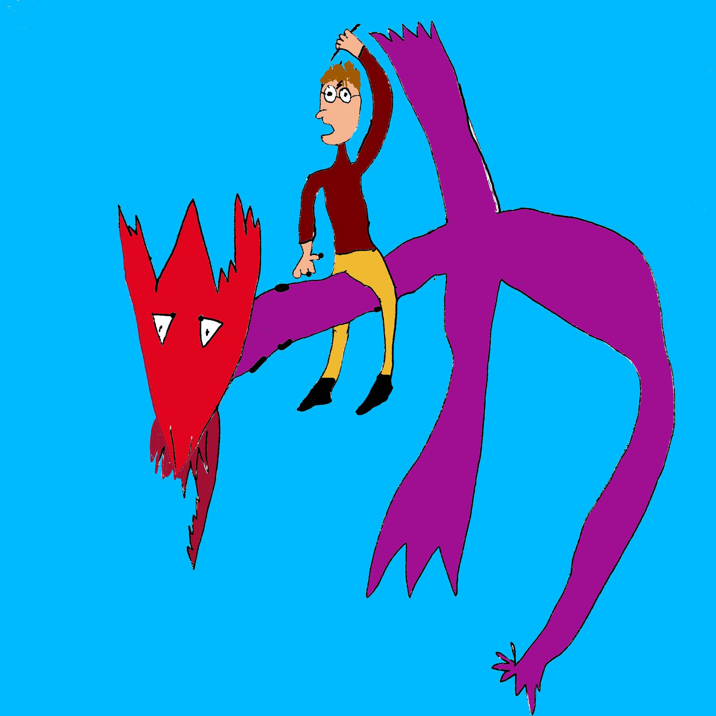 Harry Potter riding a Hungarian Horntail dragon facing forward