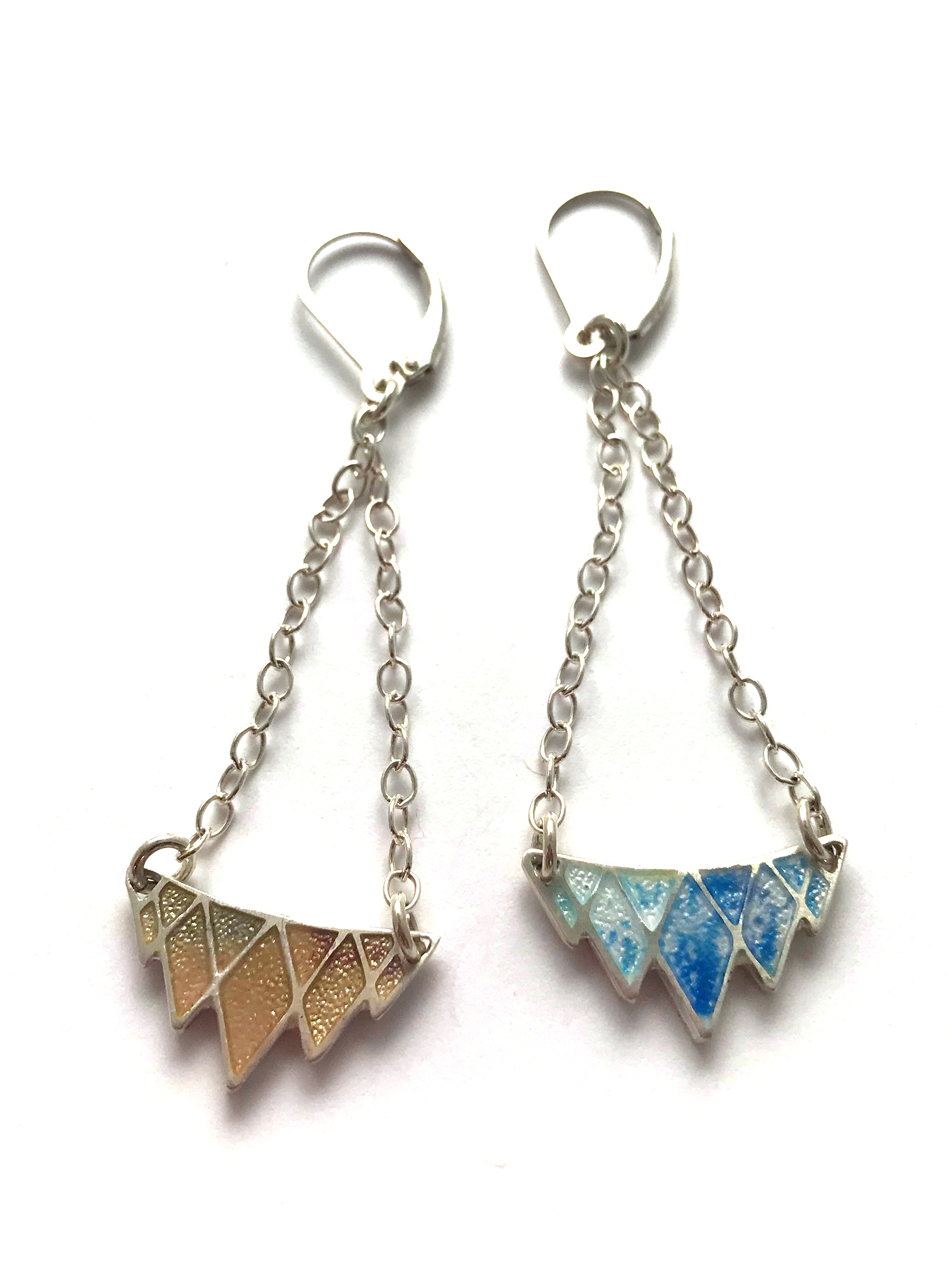 Reversible Earrings - Champlevé Enamel Shown here in Rose Gold and Shibori Blue