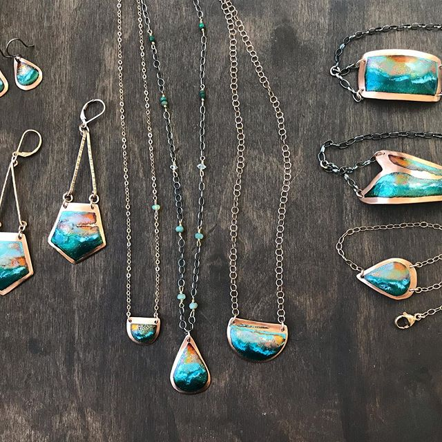 New batch of my Oceanscapes. Come check them out tomorrow August 11th at the Carlsbad Art in the Village, booth 1323W #sharonkaplanjewelry #enameljewelry #carlsbadvillage