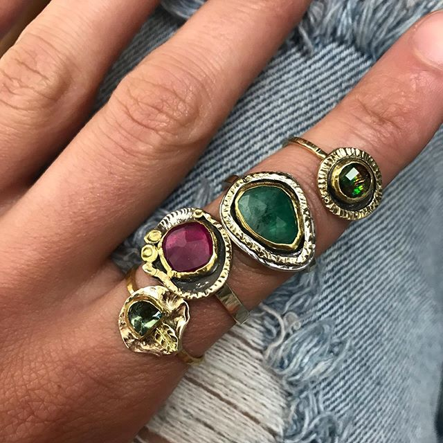 New rings #sharonkaplanjewelry #rubyring #emeralds