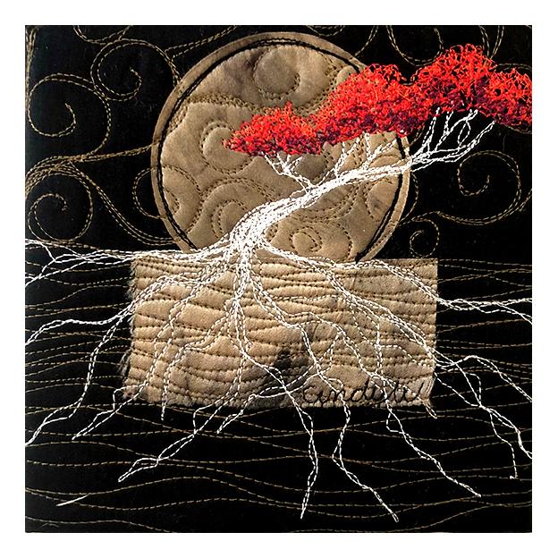 Red Tree textile artwork by Cindy Watkins
