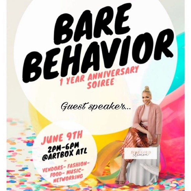 Today is the day! Tickets are still available #Repost @barebehavior_organics ・・・ This Sunday!!! June 9, 2-6pm @ The ArtboxATL 💫 @barebehavior_organics 1 year anniversary is this wknd and this is our biggest event yet!  Bringing you Vendors of all sorts, sounds by @djtiya 🎧Hosted by @its_babsie 🎤 Catered food🥘 Drinks🍹Henna Artist✍🏼 and GREAT VIBES 💃🏽 Purchase your tickets today and get a free Bare Behavior cocktail😌 #RepostTheFlyer #TellAFriend #SupportBlackBusinesses #BlackGirlMagic #SheaButterBaby #BareBehavior #Sheabutter #BlackVendors #rosegoldandlemon #atlantaevents