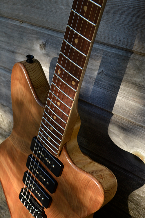StoryWood 4R-3 offset reclaimed redwood and heart pine guitar