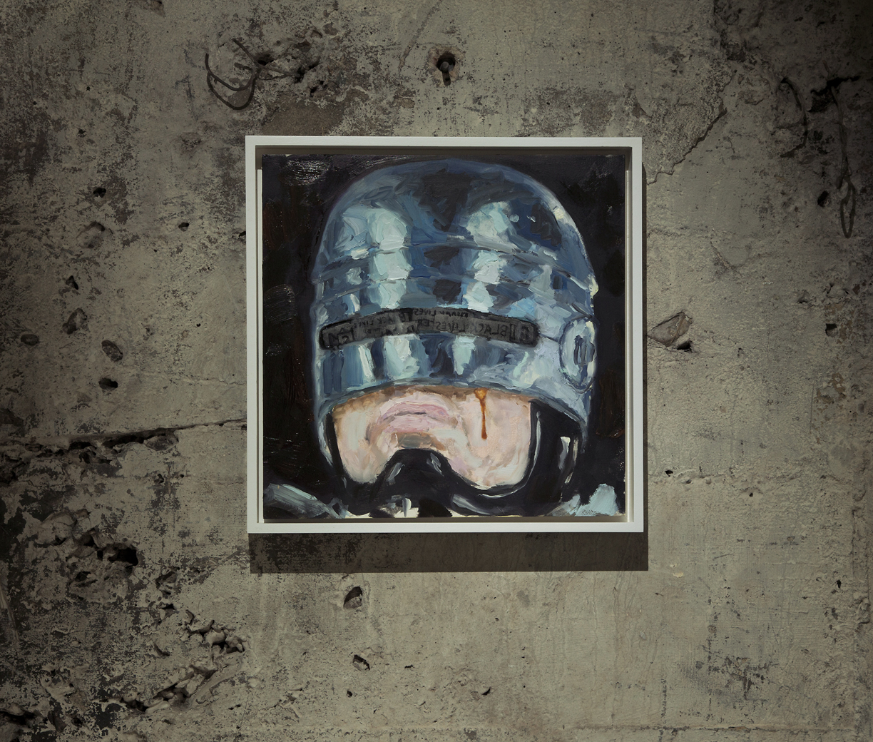 "COPS 16  Kevin Ford, RoboCop oil on board, 12""x12"", 2015  lo.jpg"