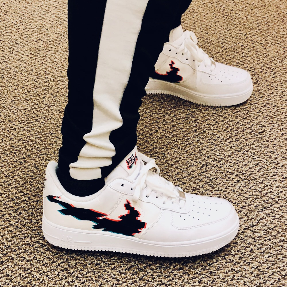 Hand painted custom AF1 Glitch.