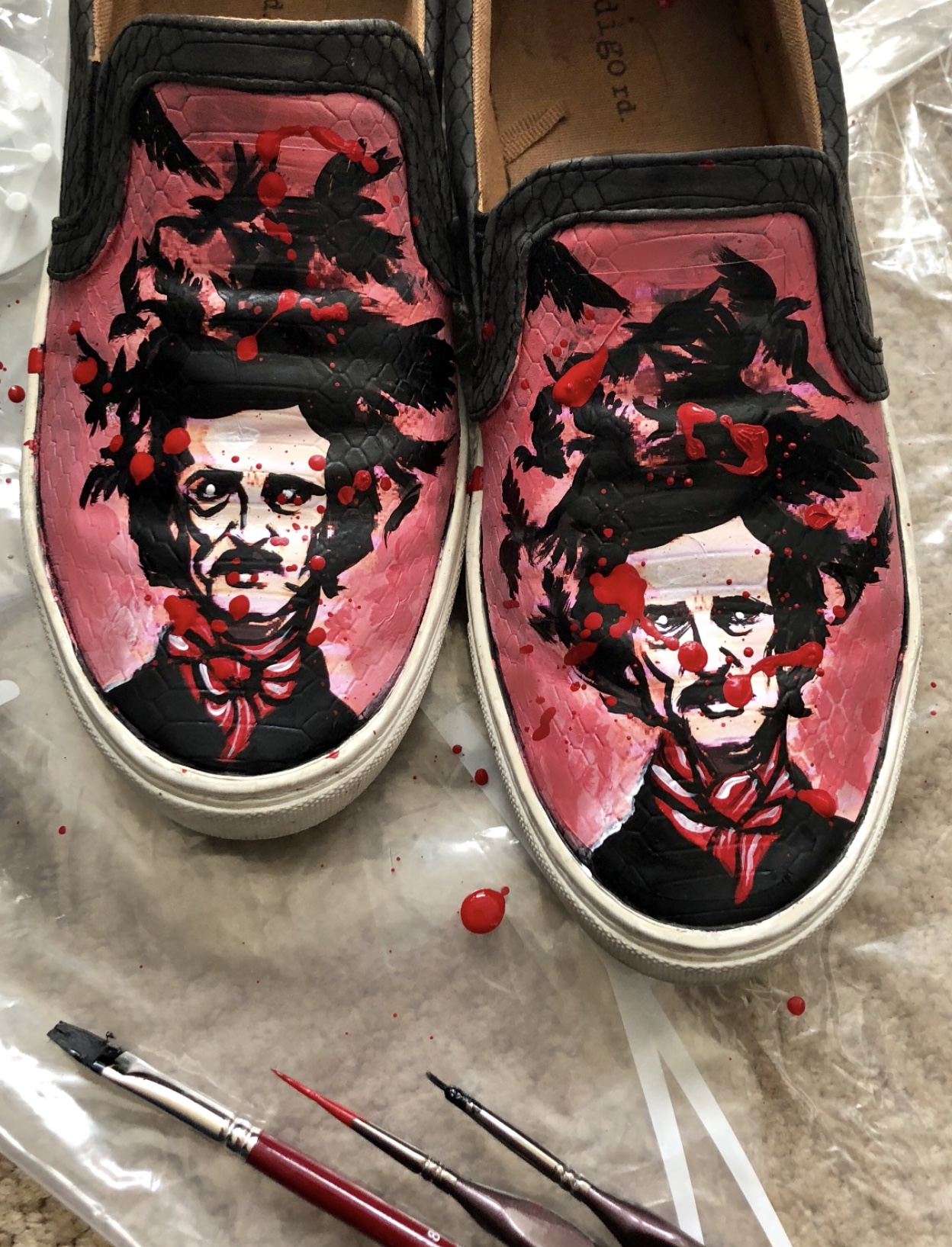 Restored old slip-ons. Hand painted Edgar Allen Poe.