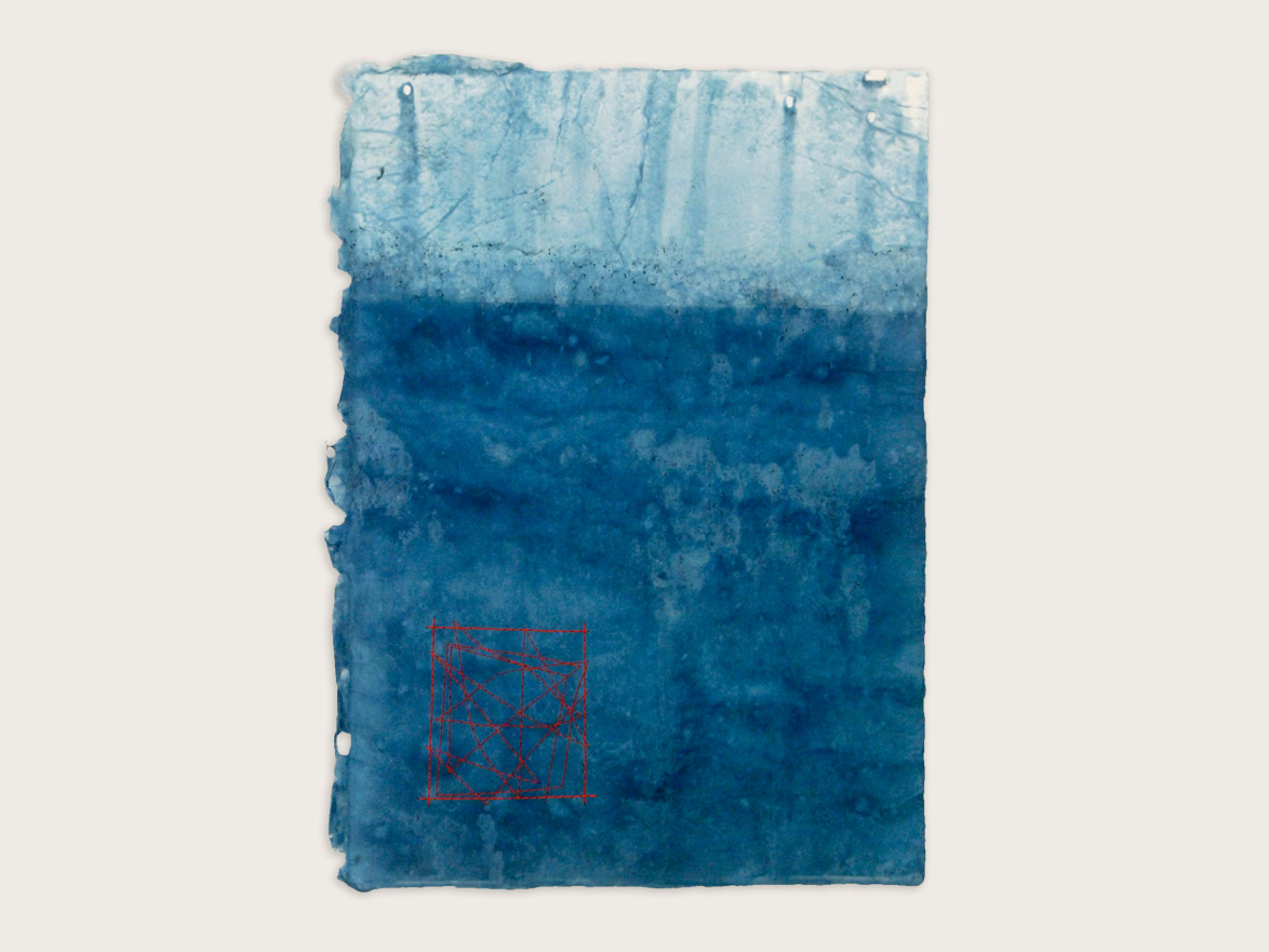 'Mapping the Journey'  Indigo & silk thread on handmade washi paper -43cm x 31cm