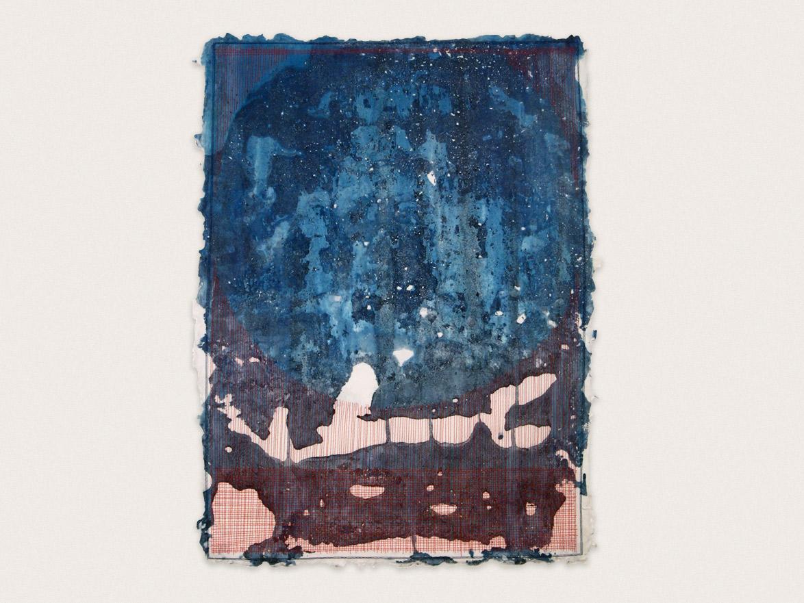 'Creation Theory'  Indigo & silk thread on handmade washi paper -  65cm x 49cm