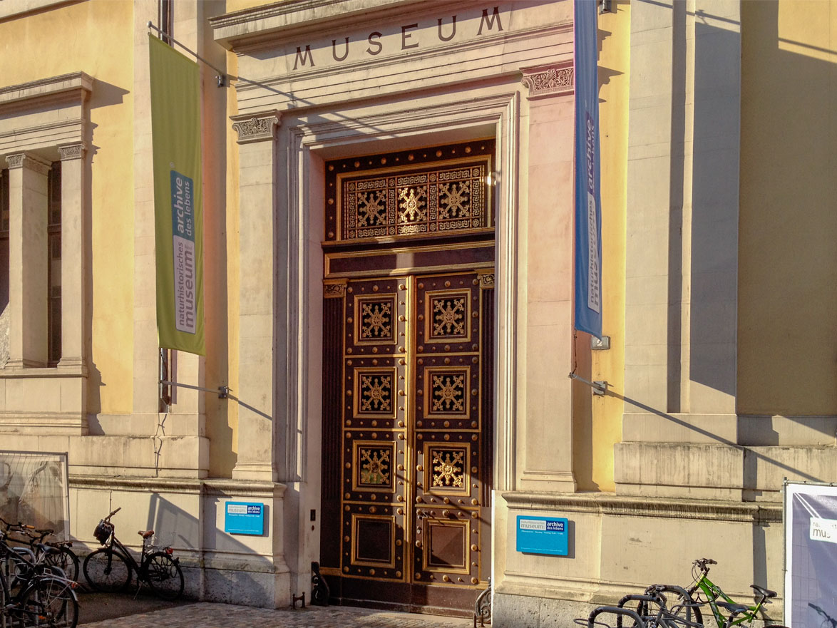 The ornate entrance to the historical Natural History Museum of Basel