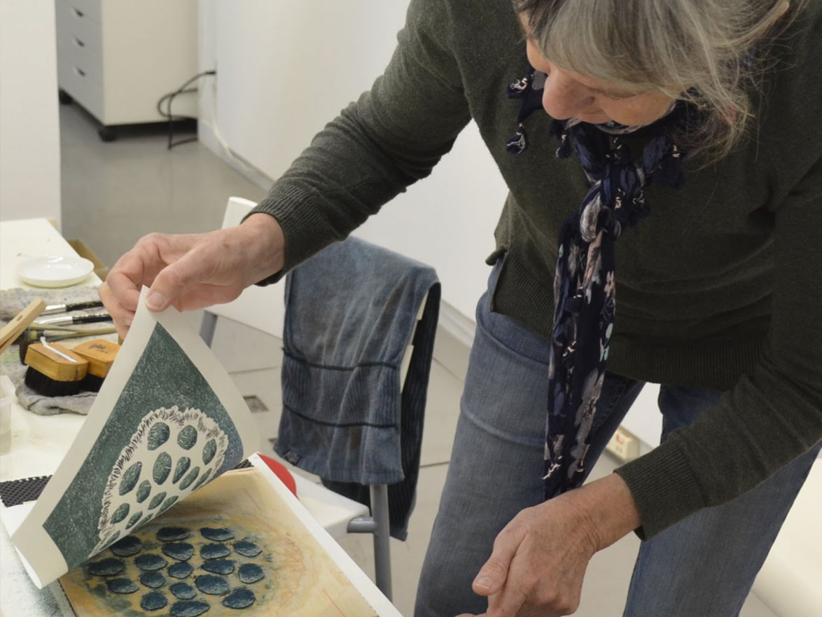 Claire printing at the Mokuhanga workshop