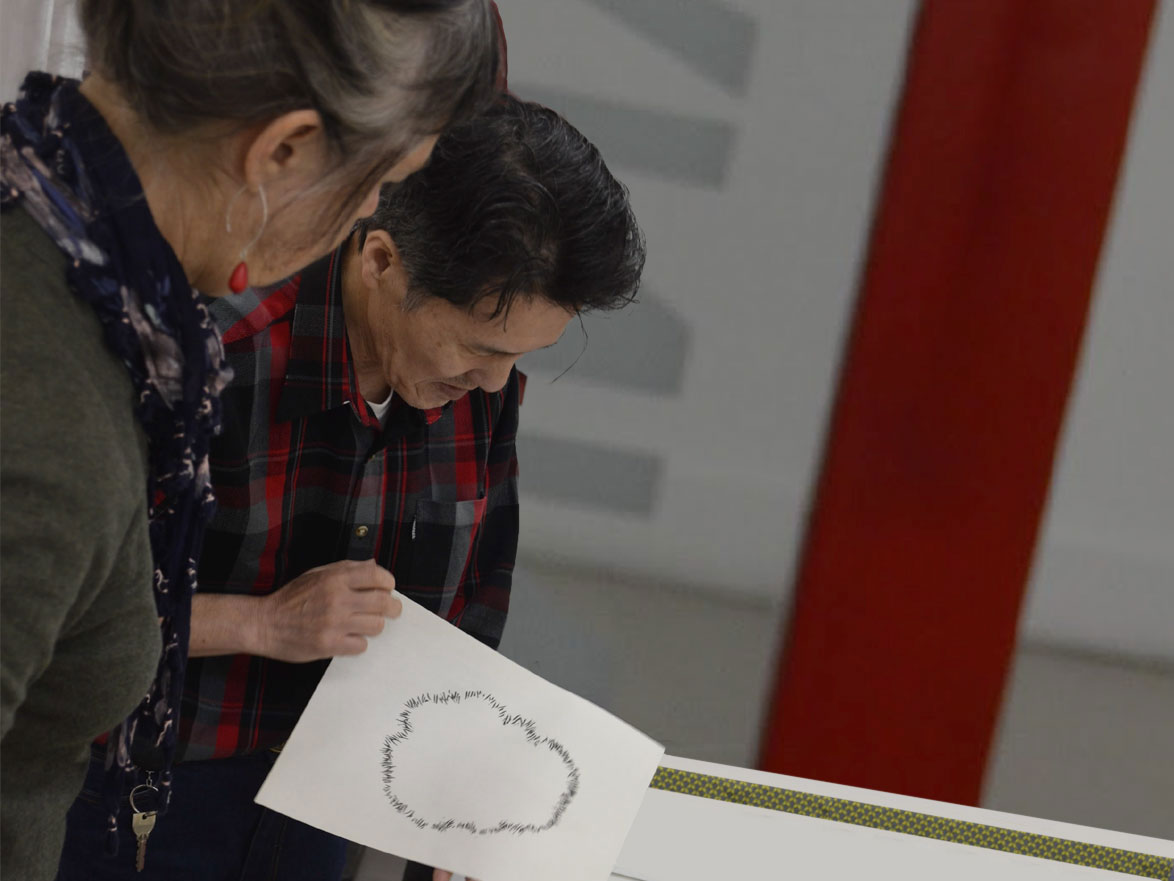 Professor Tetsuo Soyama & Claire inspecting part of a print