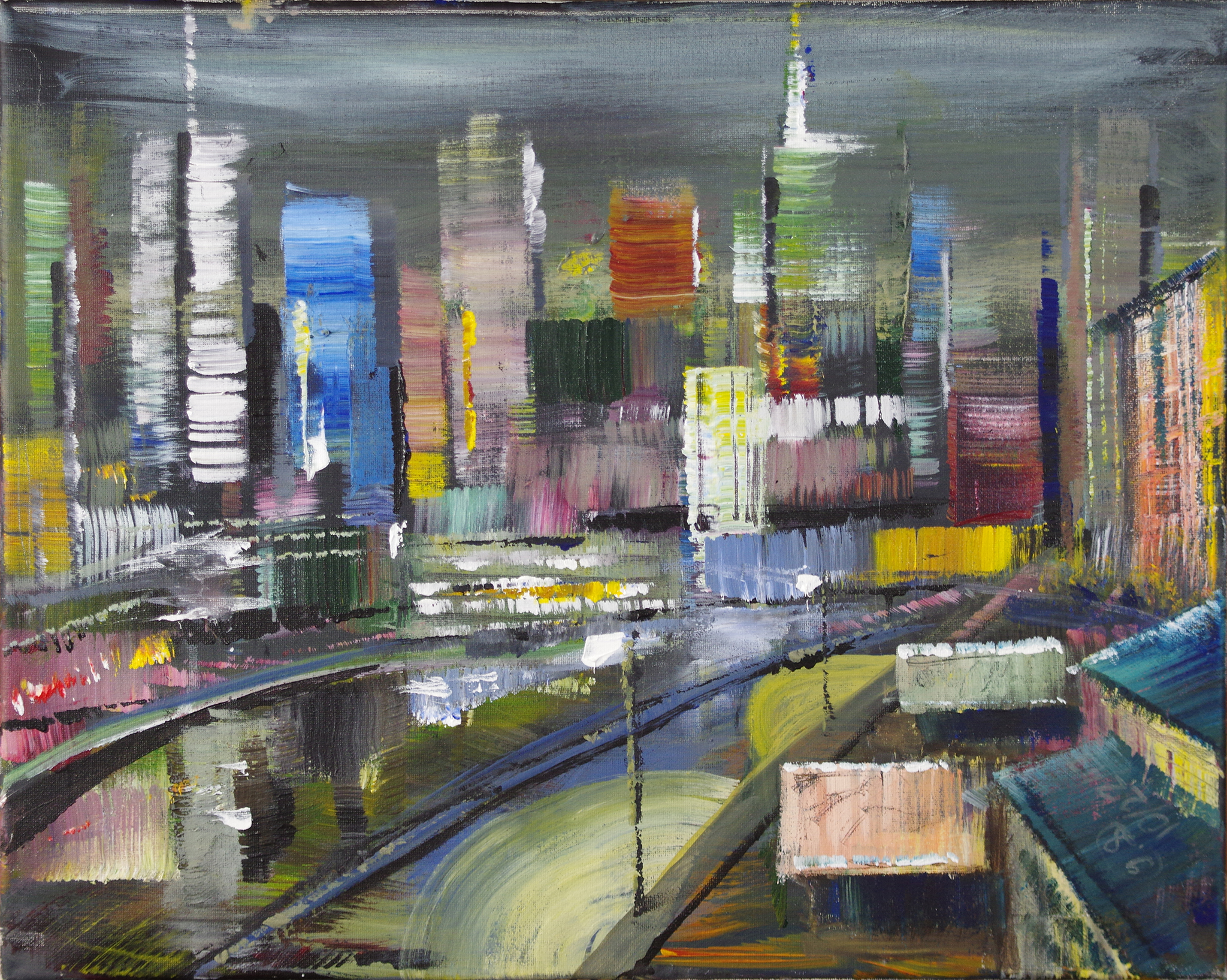 night in the city - oil on canvas16