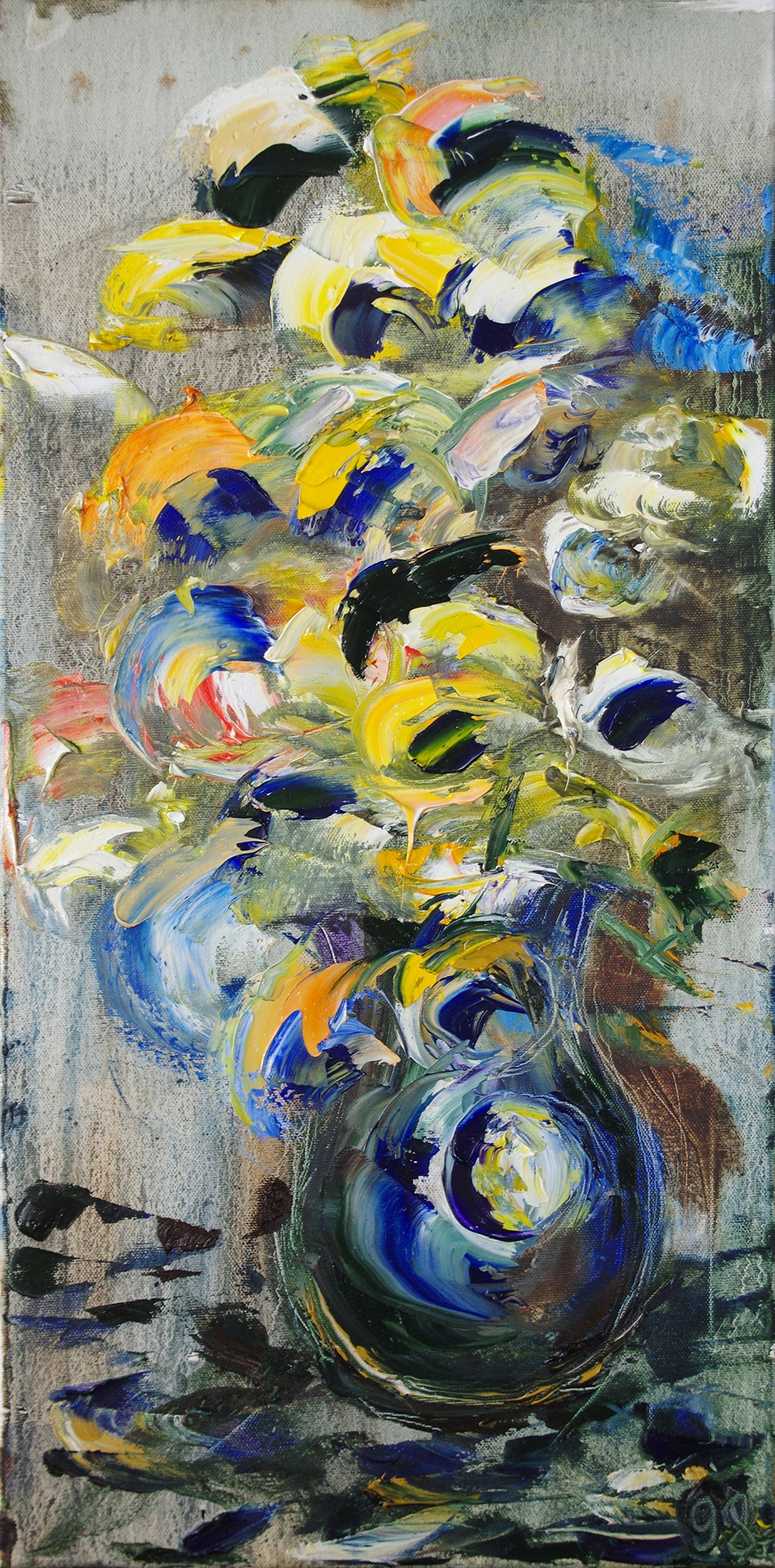 flowers in a blue vase - oil on canvas24