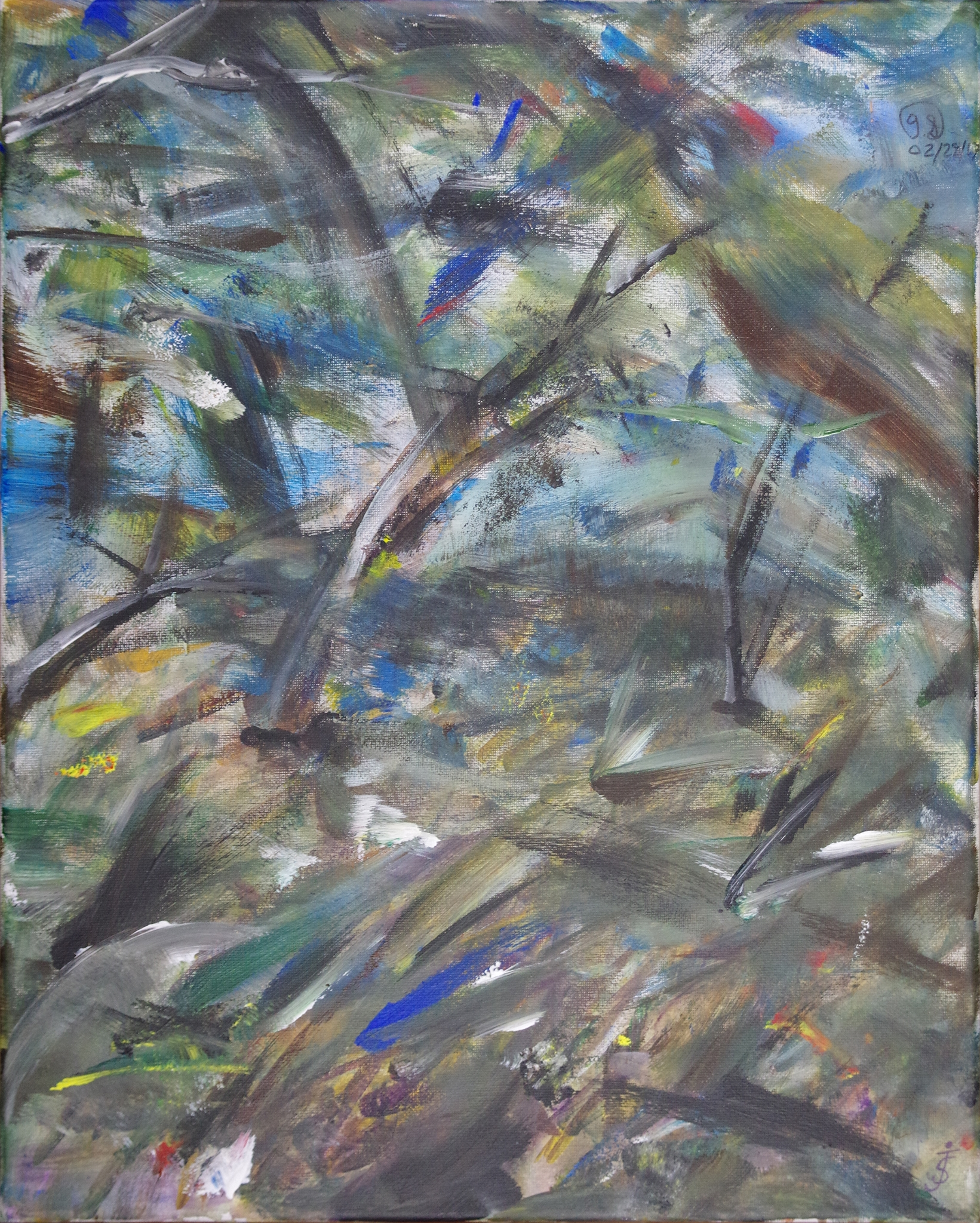 wind in the garden - acrylic on canvas board20