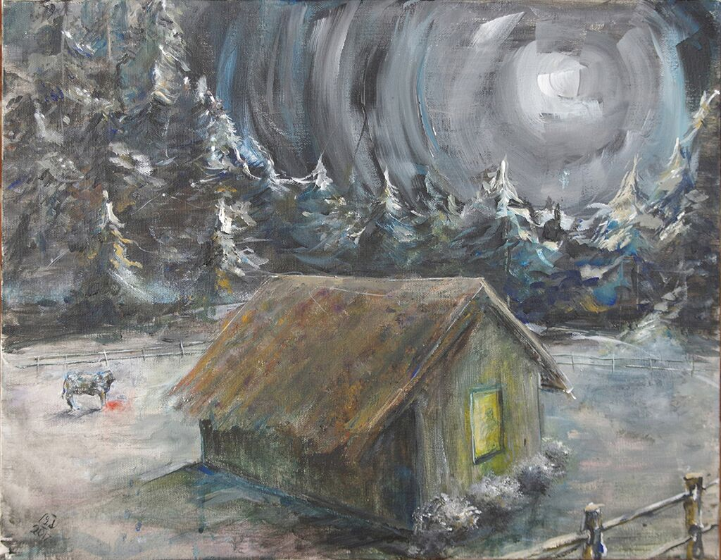 "moonlight - acrylic on canvas20"" x 16""A full moon casts light over a snowy landscape, illuminating a cottage and its surroundings."