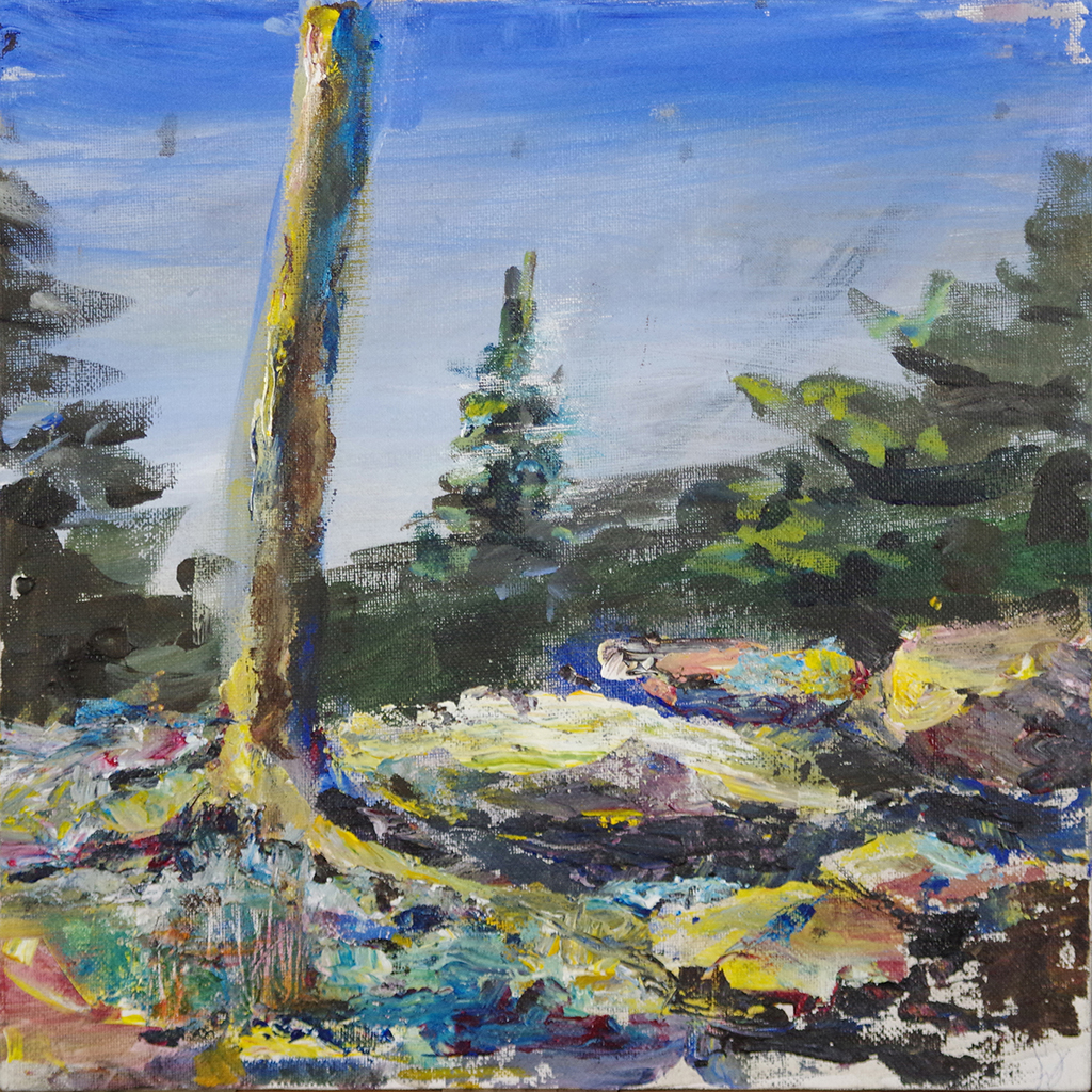 "pine trunk - acrylic on canvas board11"" x 11""A study done for the"