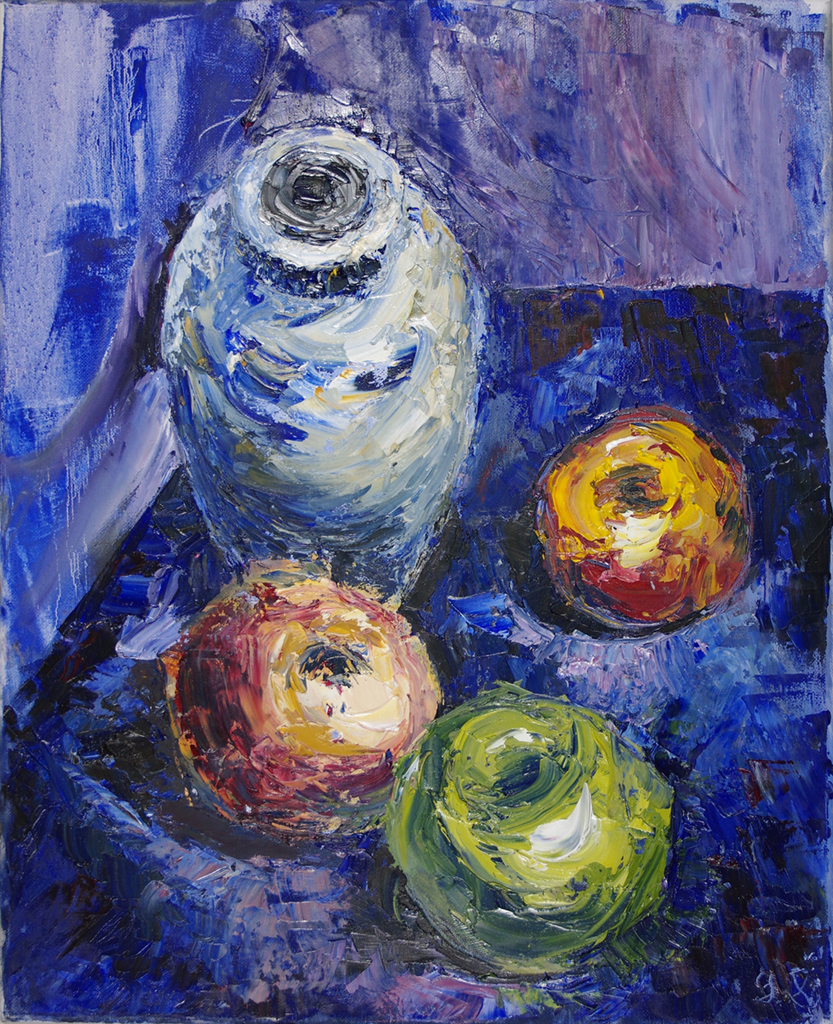 "three apples - oil on canvas16"" x 20""An unusual perspective on a still life which was set up in my studio"