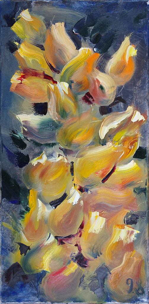 "orange tulips - oil on canvas12"" x 24""Inspired by an successful piece of an unsuccessful painting. The painting from which inspired this work is not longer in existence."