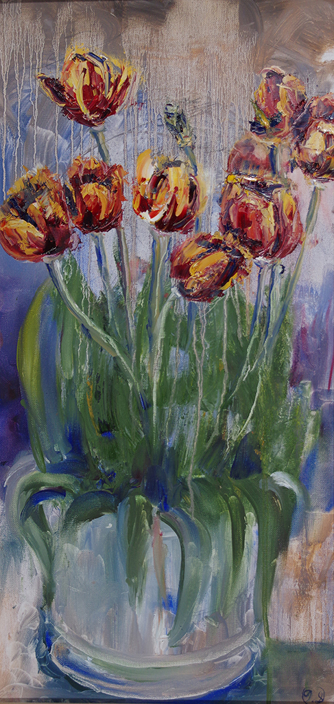 "red tulips - oil on canvas12"" x 24""A painting of flowers inspired by my fathers gift to my mother."