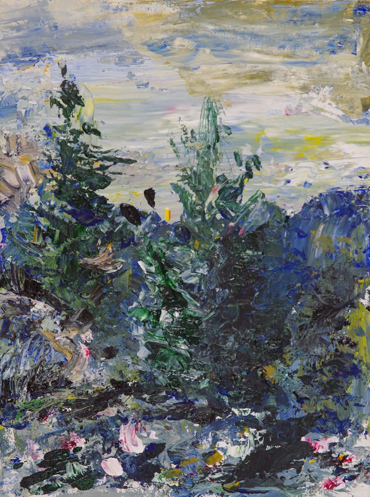 "Mountain Plein-air 1 - acrylic on canvas board9"" x 12""A plein air completed during sunset near Evergreen, CO."