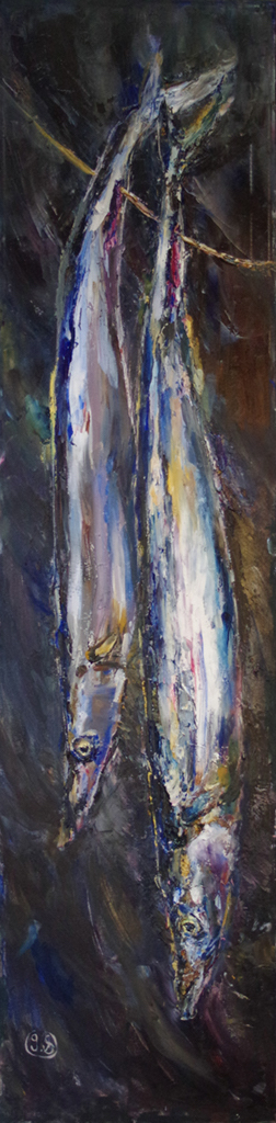"Painting of two fish (12"" x 48"")"
