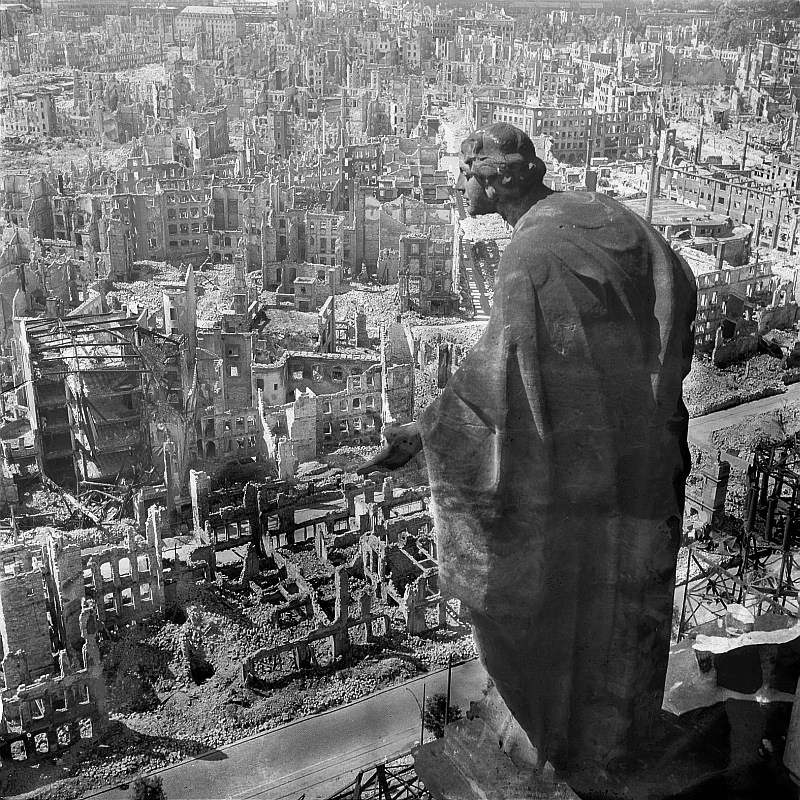 "A WW2 picture depicting the firebombing of Dresden. Taken by Richard Peter in 1945.  (Peter, Richard. ""Bombing of Dresden in World War II.""  Wikipedia , Wikimedia Foundation, 1 Oct. 2009, en.wikipedia.org/wiki/Bombing_of_Dresden_in_World_War_II#/media/File:Fotothek_df_ps_0000010_Blick_vom_Rathausturm.jpg.)"