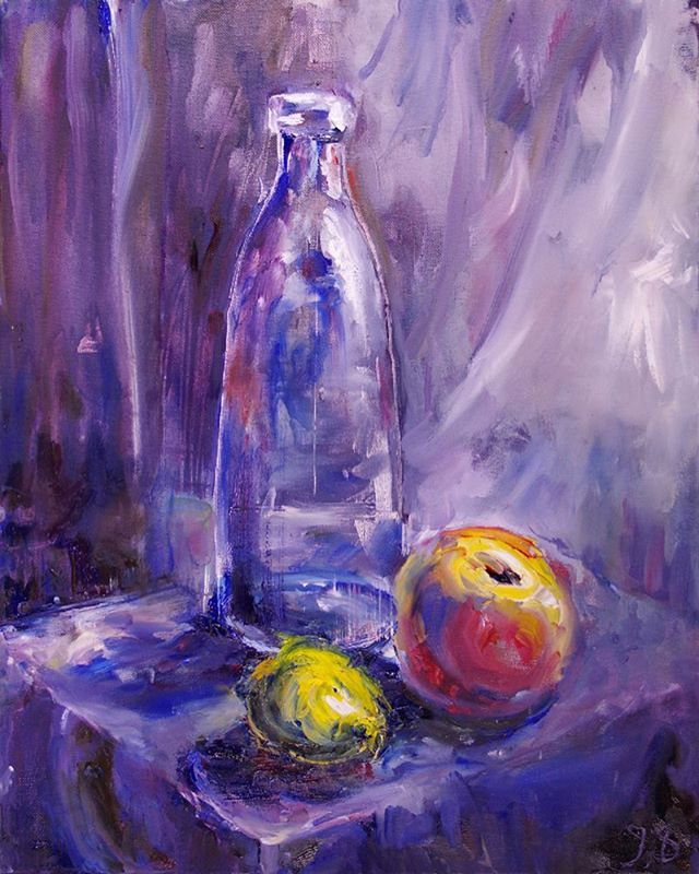 "I painted this in my studio which has both purple and transparent white curtains. I was painting in the morning, when beautiful light came through the the window. In this painting, I have attempted to capture that light. Coincidentally, it's called ""Morning Still life"". It was completed 11/10/18.  #oilpainting #dailypainting #doitfortheprocess #instartist #studioscenes #stilllife #art #oil #artgram_ir #passioncolorjoy #mycreativebiz #craftsposure #colorcrush #colorcrushcreative #interiorartist #art_realistic #art_impressionistic"
