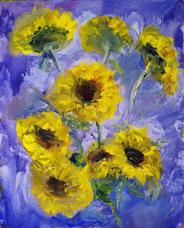 "This is a quick painting, called ""Sunflowers"", I did on 12/11/18. I was at the super market when I saw a particularly good looking bouquet of sunflowers. I made the immediate decision to paint the flowers. It was done using oil paint on canvas.  #carveouttimeforart #artflow #artflowsession #sunflowers🌻 #oilpainting #quickart #sunflowers #doitfortheprocess #instartist #studioscenes #stilllife #art #oil #artgram_ir #passioncolorjoy #mycreativebiz #craftsposure #colorcrush #colorcrushcreative #interiorartist #art_realistic #art_impressionistic #dailypainting"