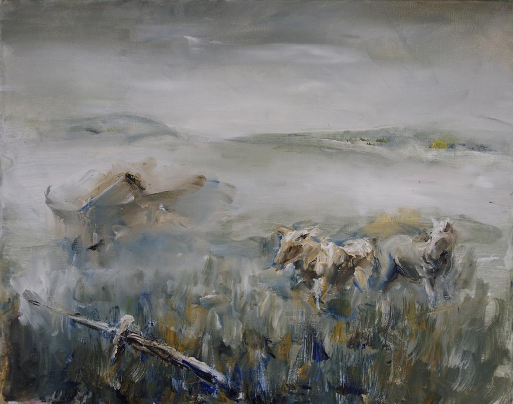 "Foggy pasture - 20"" x 16"""