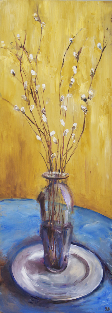 "long branches in purple vase - oil on canvas18"" x 48"""
