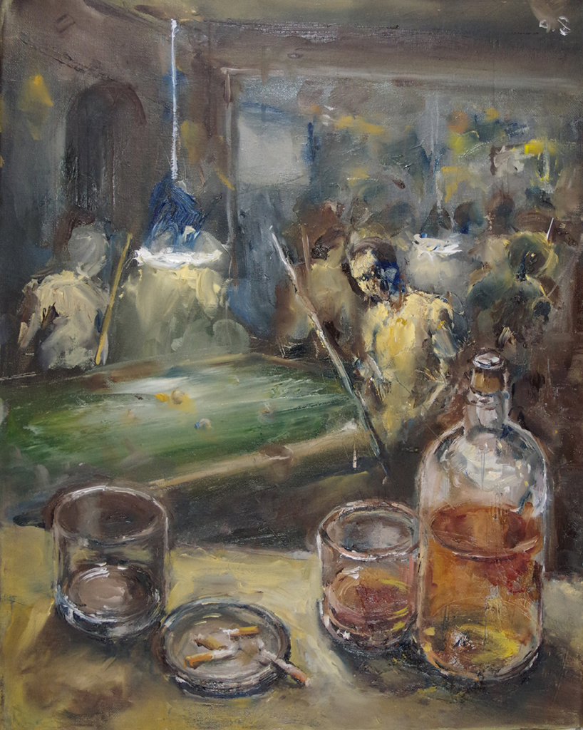 "the bar's interior - oil on canvas16"" x 20'"