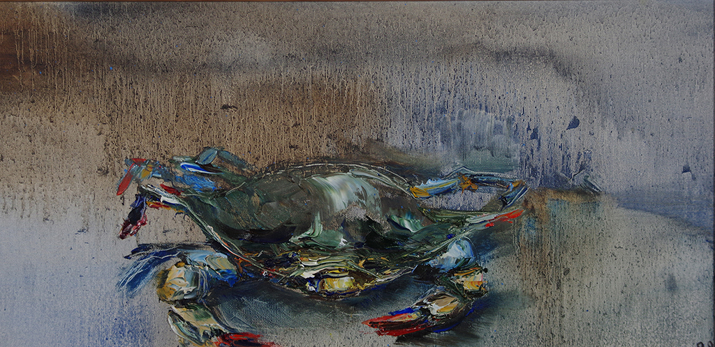 "blue crab - oil on canvas24"" x 12""A painting inspired by what my father brought home from H-mart."