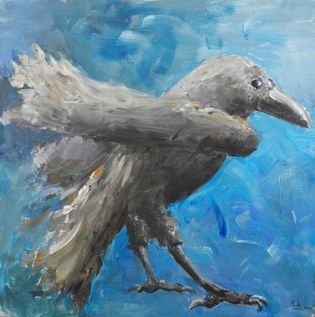 "THE RAVEN - acrylic on wood board16"" x 16""This is an earlier one of my works. It draws inspiration from Jamie Wyeth's work,"