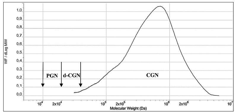Figure 7. Molecular Weight (Mw) Profile of CGN, poligeenan (PGN) and d-CGN Mw definitions included (Concentration versus Log Mw)..png