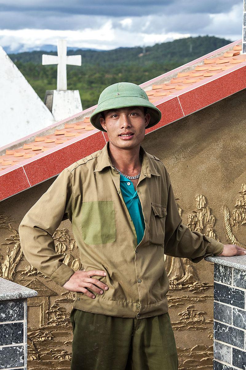 Cemetery Worker Dalat Vietnam