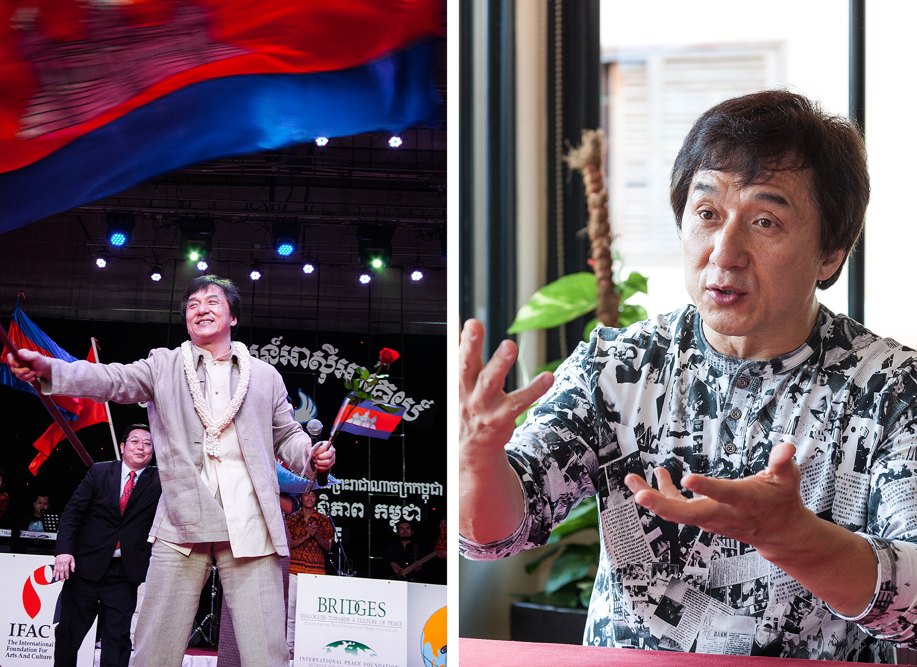 Jackie Chan, SEA TV and Malis Rstnt Phnom Penh, Bridges Int. Peace Foundation
