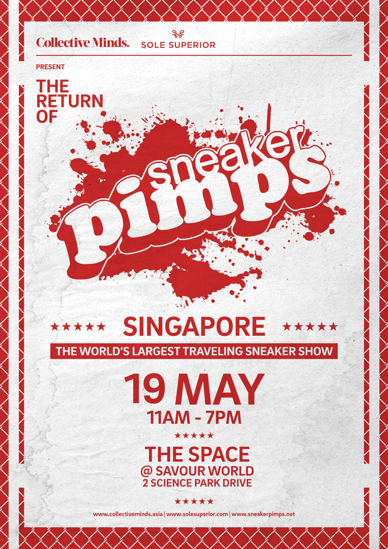 Sneaker Pimps - Sneaker Pimps is the World's Largest Traveling Sneaker Show featuring over +500 rare, vintage, and limited edition sneakers under one roof.By partnering with local brands and distributors Collective Minds was able to sell over 1,500 tickets to the hyper reactive sneaker and streetwear community in Singapore.