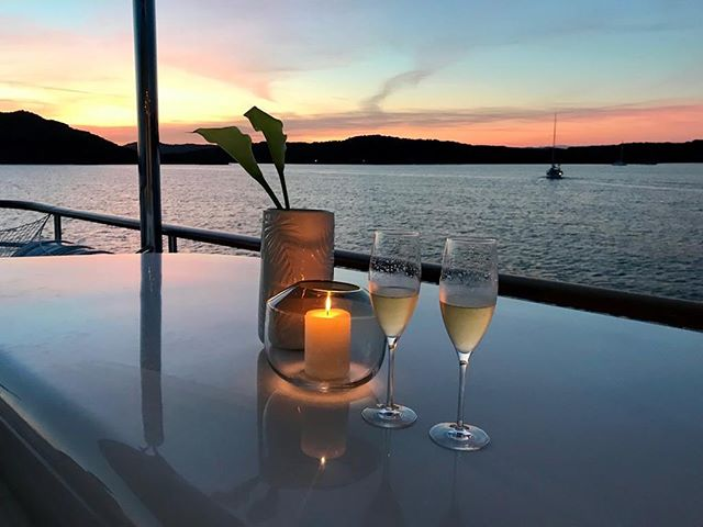 No place I'd rather be than enjoying a sunset and some bubbles! #luxurytravel #yachtlife #bubbles