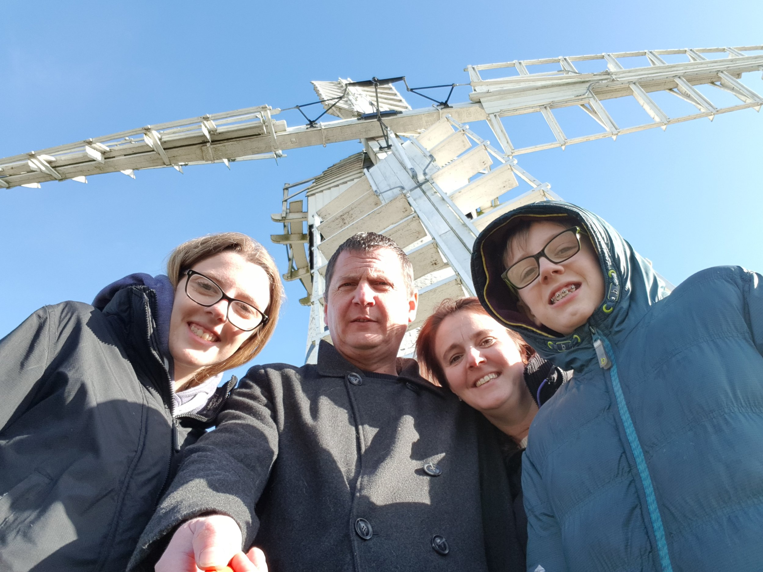 A family outside Thurne Windmill
