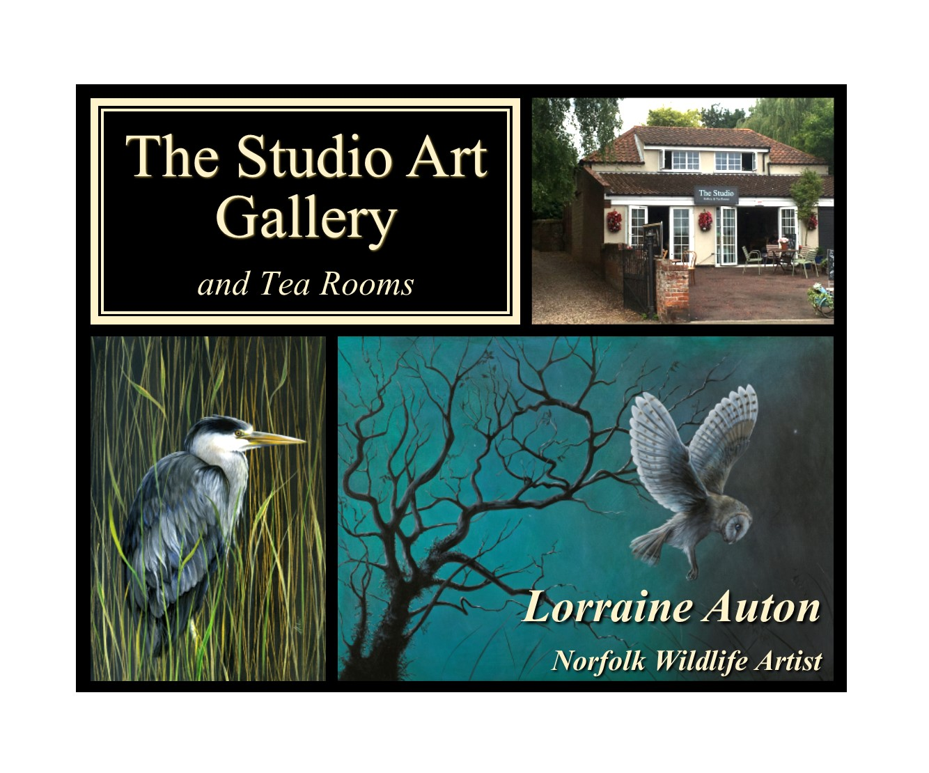 The Studio Art Gallery, Acle - The Gallery exhibits a range of high quality contemporary and traditional artwork by local Norfolk artists, with new exhibitions every month.A selection of gifts, bronzes, jewellery, prints and cards is also available.Tea, cake and light lunches are served in the relaxed and cosy atmosphere of the adjoining Tea Rooms.The Street, Acle, Norwich, NR13 3DY 01493 751974
