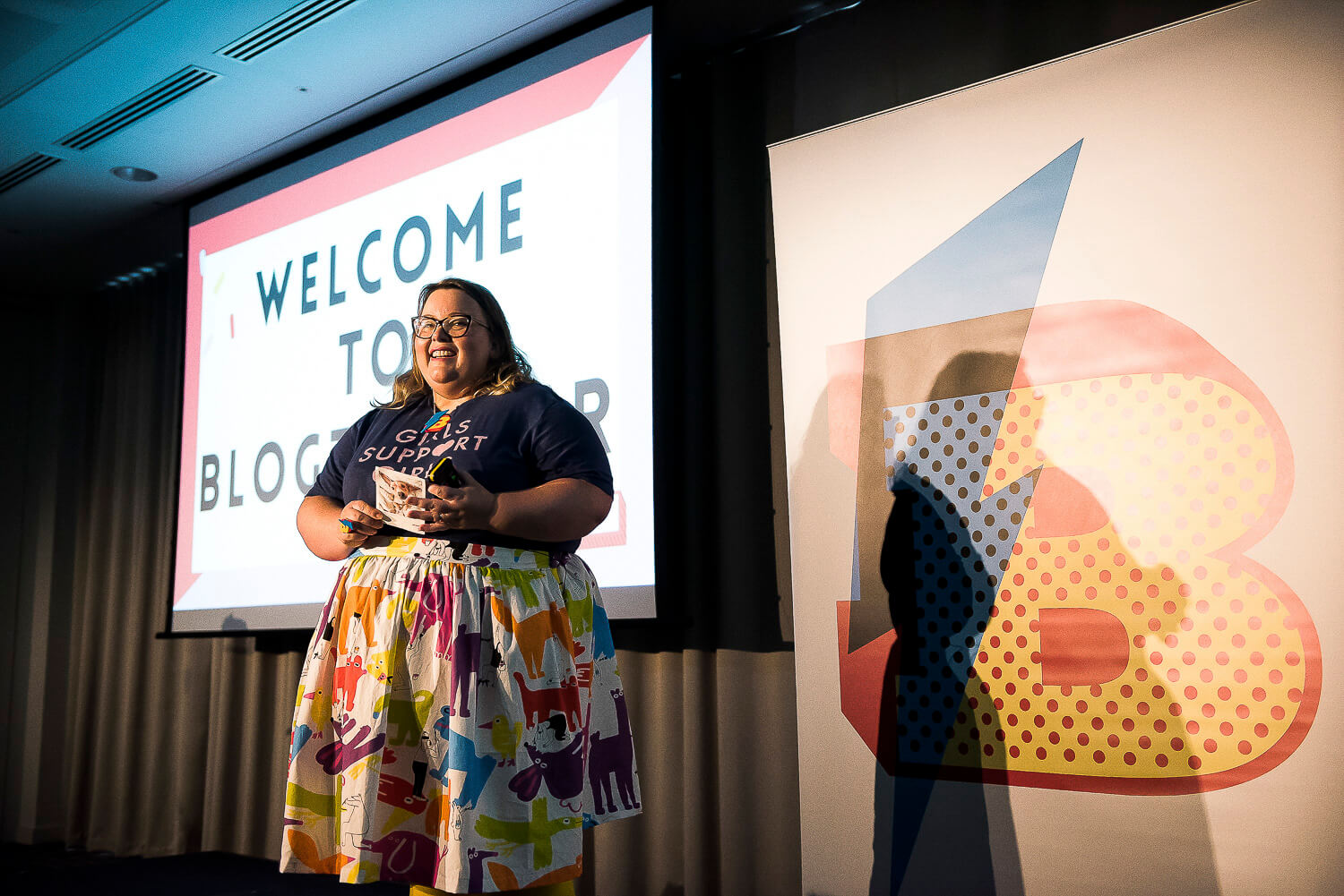 Kat Molesworth Introducing Blogtacular 2018 - a day of colour, energy, creativity and good vibes Image credit:Blogtacular 2018 © Will Ireland