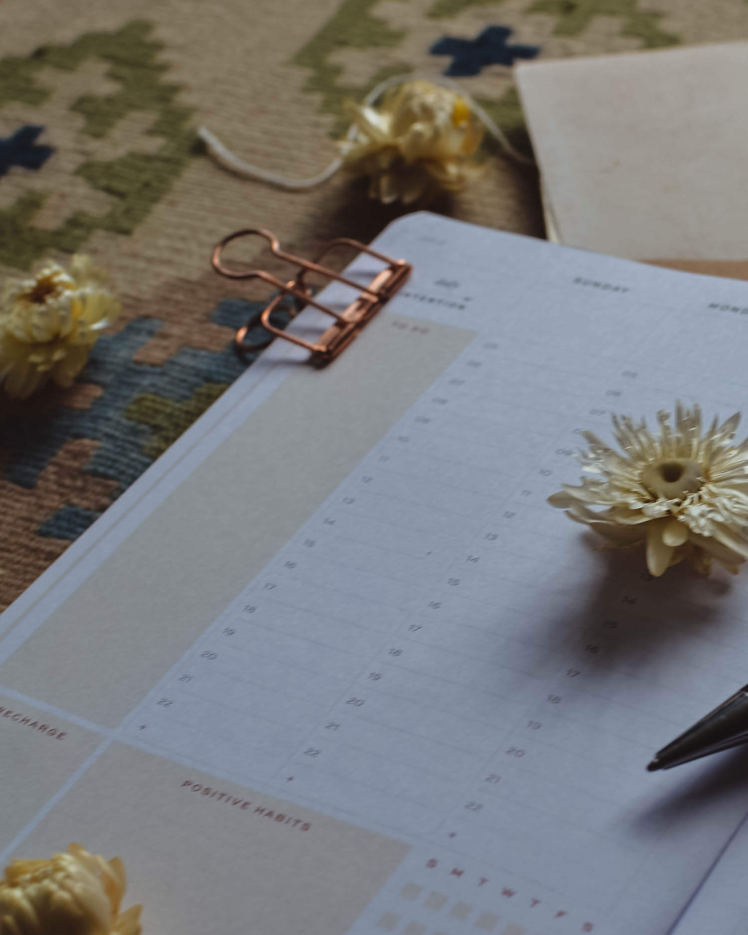 Diary planner with dried flowers