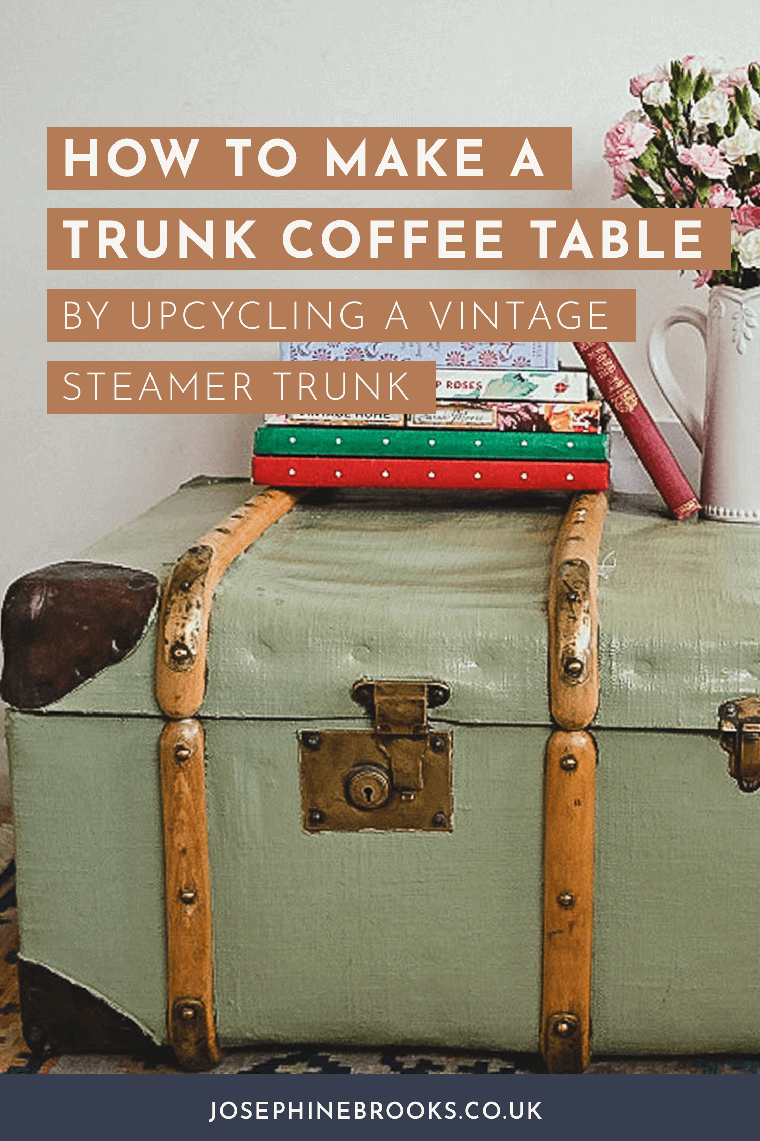How to make a Trunk Coffee Table Using an Upcycled Vintage Steamer Trunk - Trunk table DIY