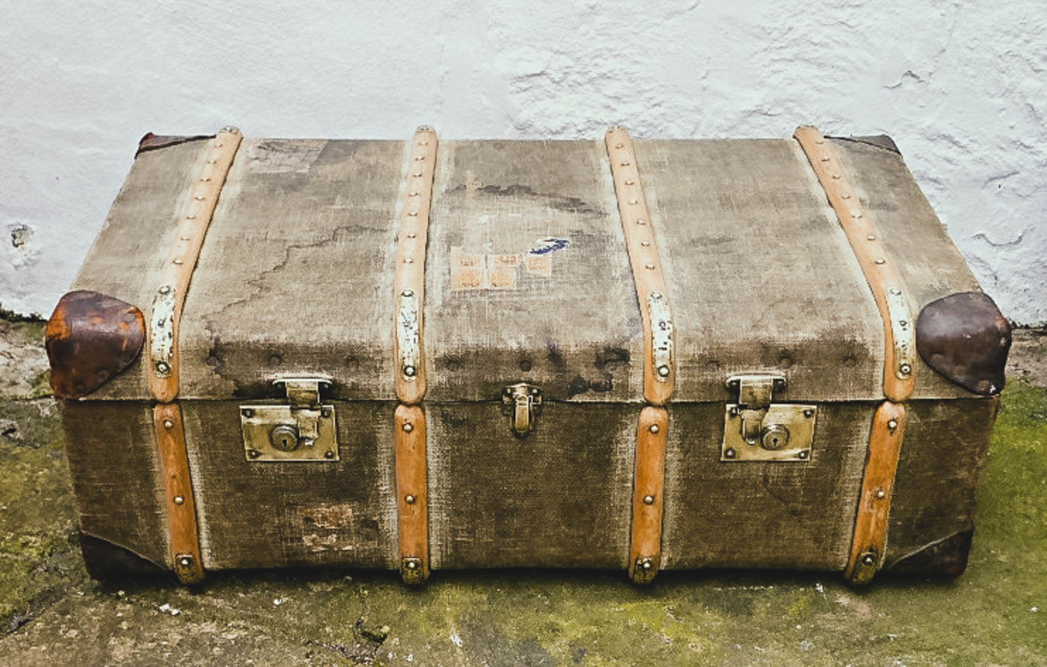 Vintage trunk sanded down ready for painting - Upcycled Trunk Coffee Table DIY