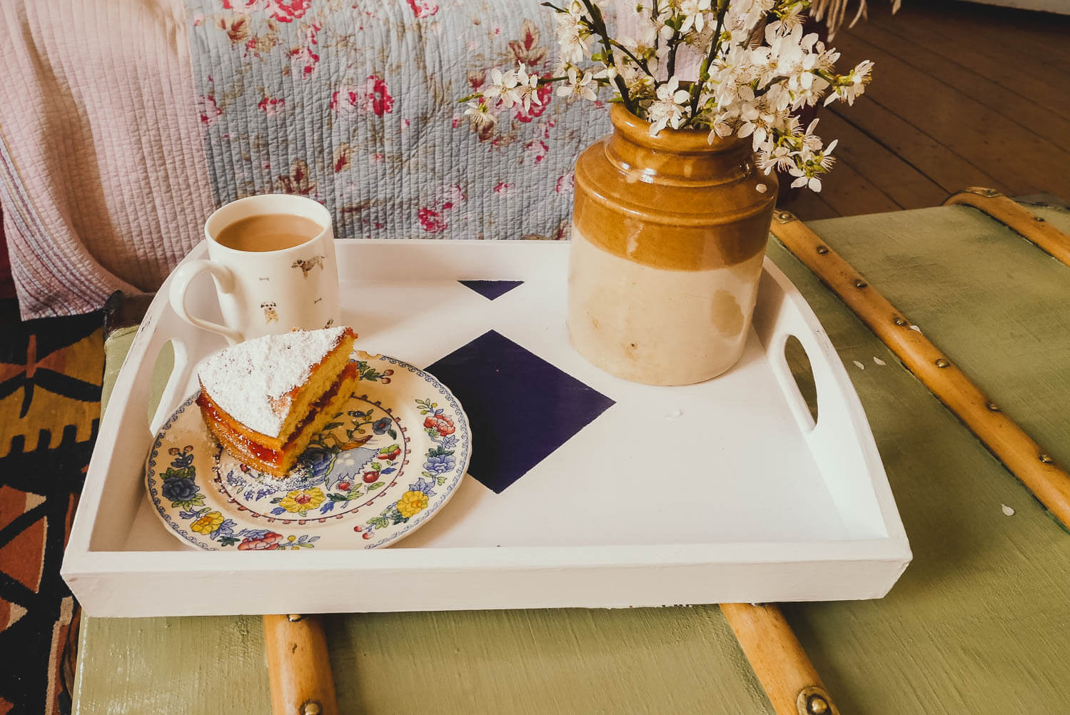 Tea and cake on an upcycled trunk coffee table