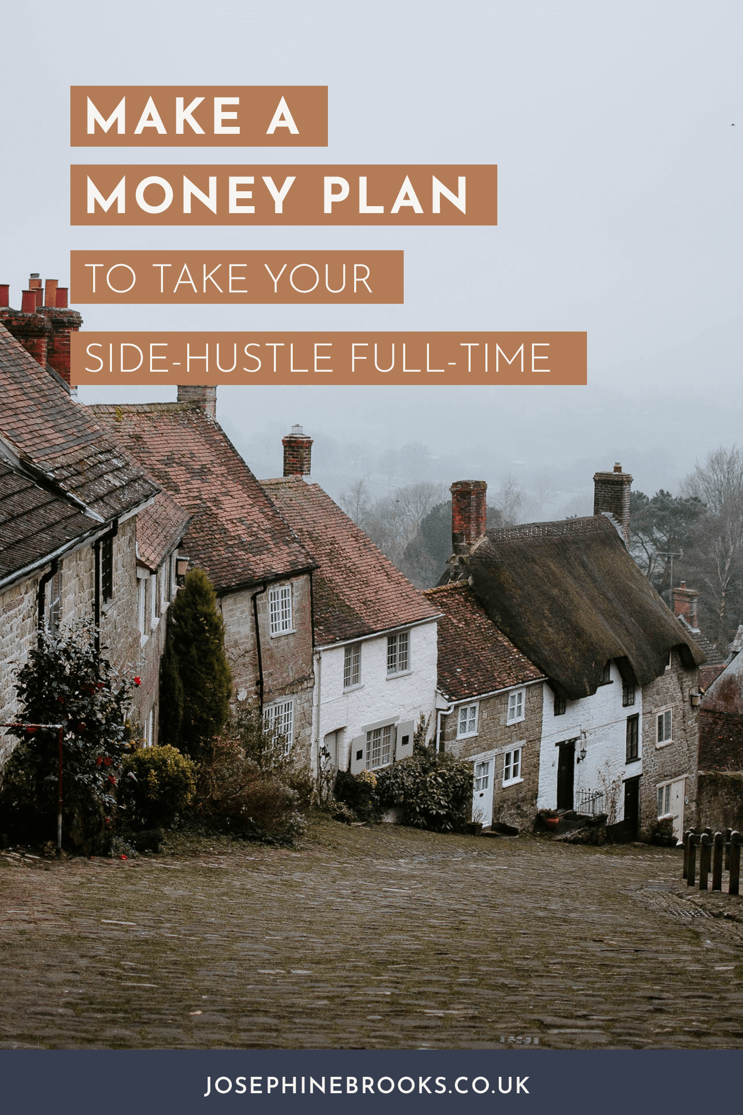 Make a money plan to escape your 9-5 take your side-hustle full-time, growing a business, replacing your income with a side-hustle, escaping the 9-5, How to build a business so I can leave my job | Josephine Brooks