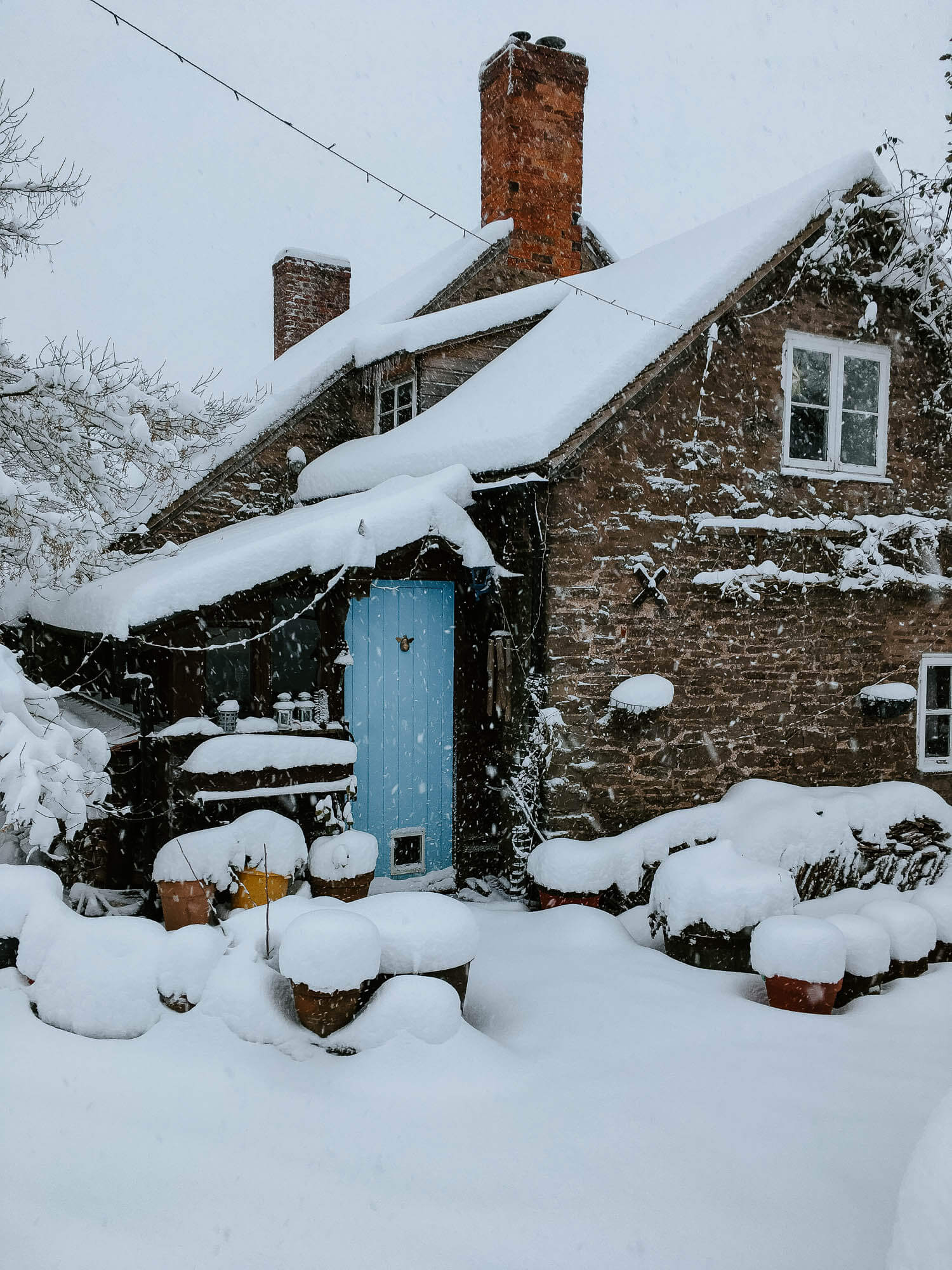 Little cottage with a blue door under a blanket of snow - the magic of snow at Christmas (5 of 6).jpg