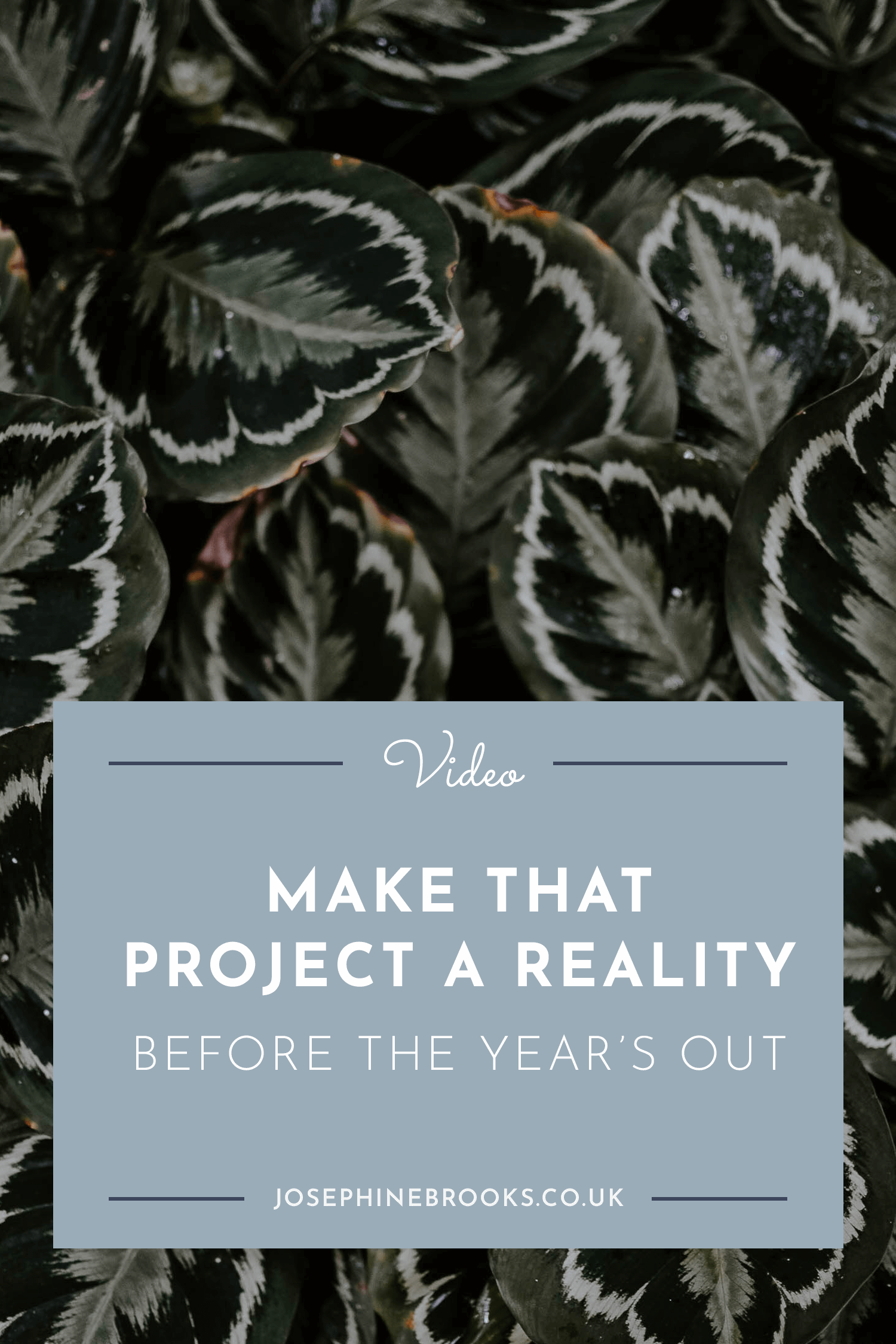 Make that project a reality before the year's out   Josephine Brooks