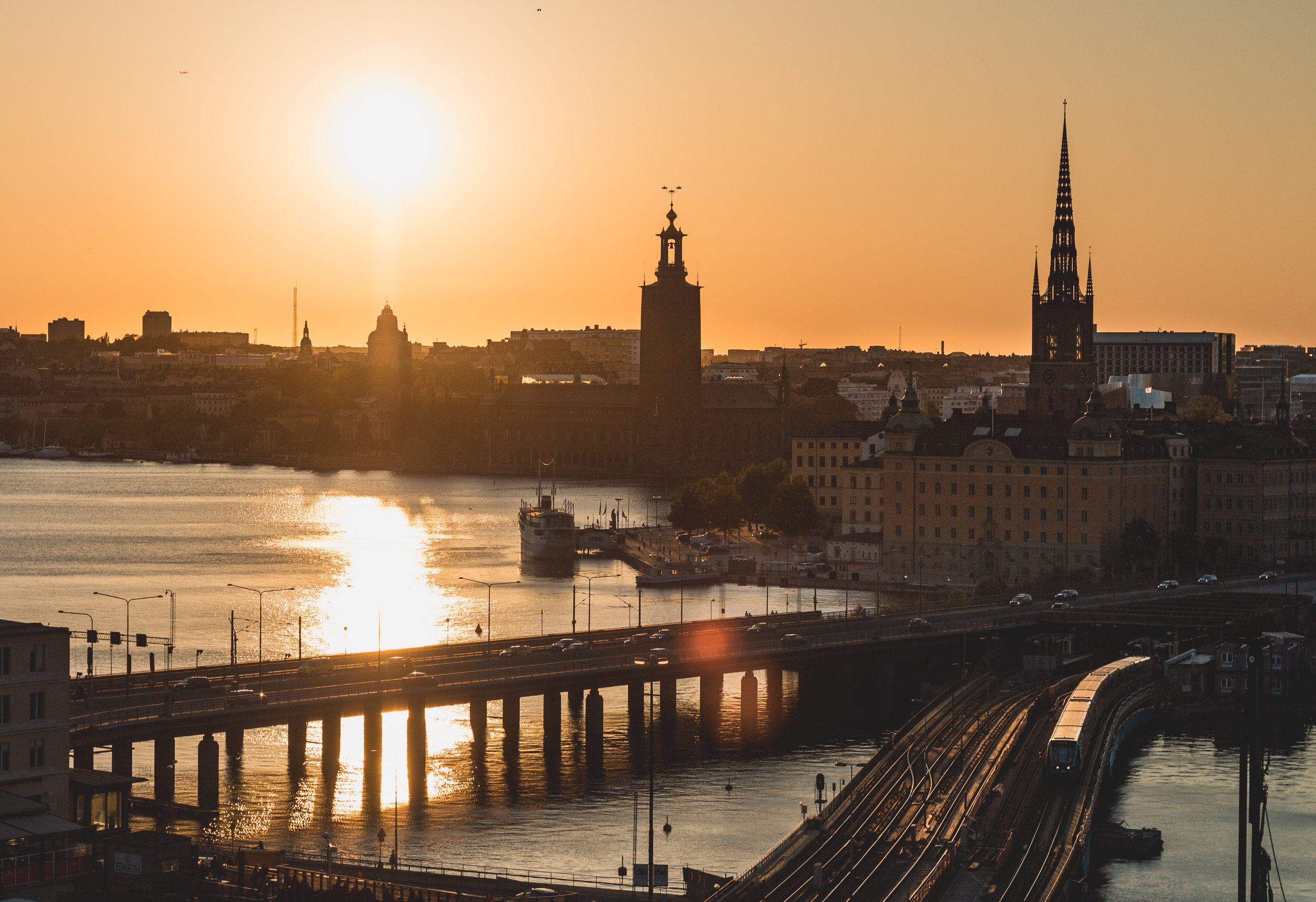 slussen stockholm+solnedgång