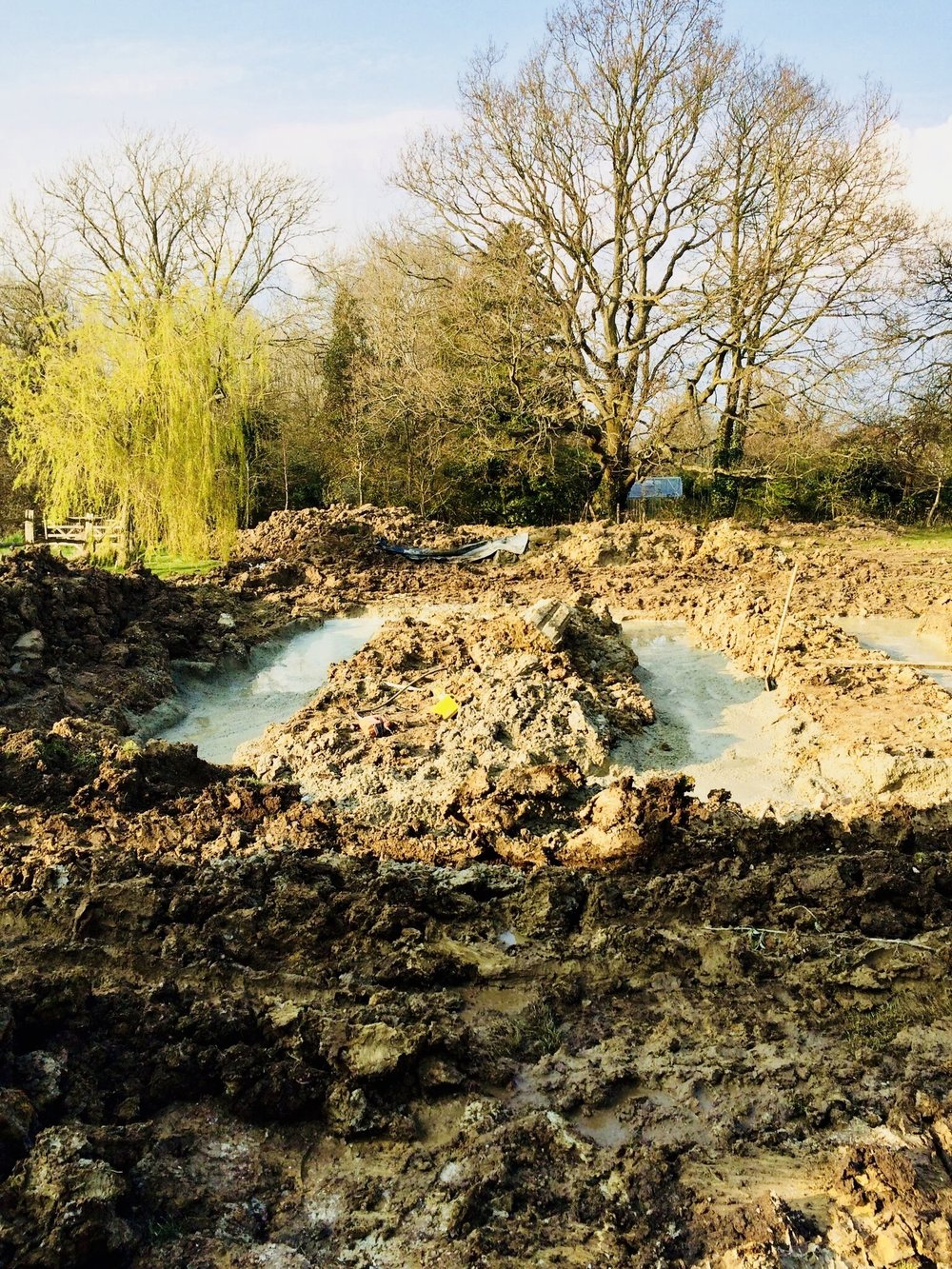 The result of the digging at the correct depth for the foundations of an The result of the digging at the correct depth for  an Eco home in West Sussex